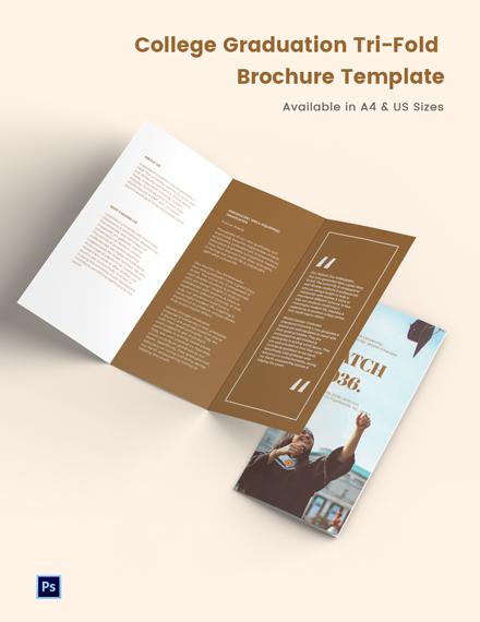 College Graduation Tri-Fold Brochure Template