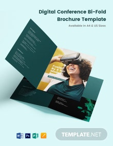 Digital Conference Bi-Fold Brochure Template