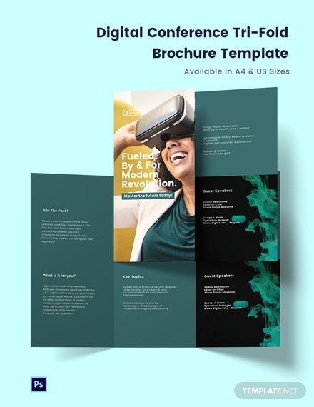 Digital Conference Tri-Fold Brochure Template