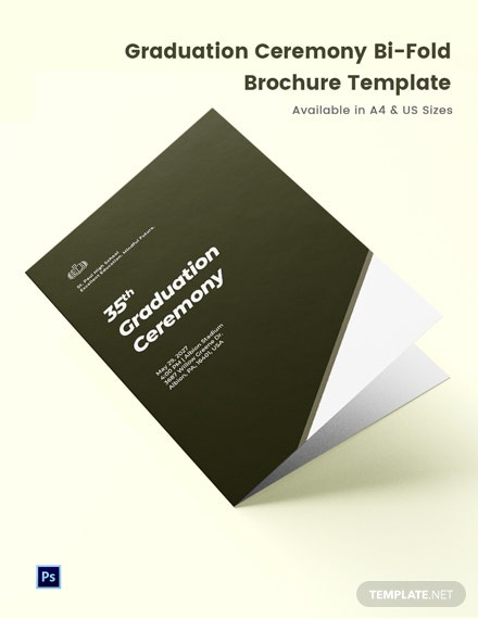 Free Elegant Graduation Ceremony Bi-Fold Brochure Template