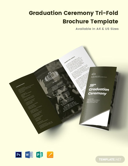 Free Elegant Graduation Ceremony Tri-Fold Brochure Template