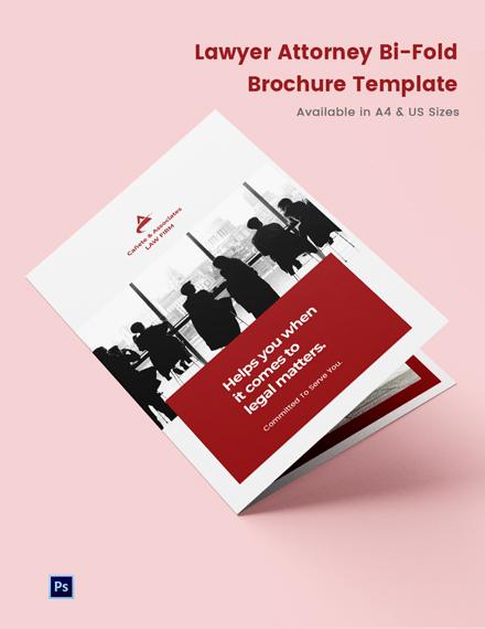 Lawyer Attorney Bi-Fold Brochure Template