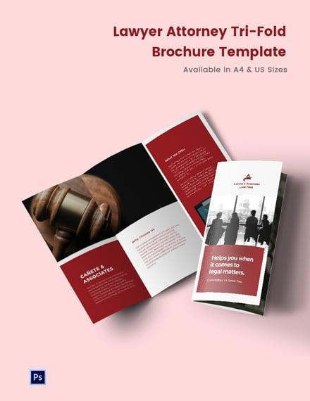 Lawyer Attorney Tri-Fold Brochure Template