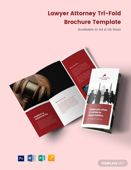 Lawyer Attorney Tri-Fold Brochure Template