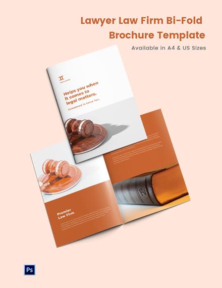Lawyer Law Firm Bi-Fold Brochure Template
