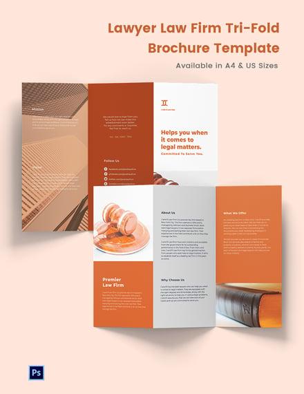 Lawyer Law Firm Tri-Fold Brochure Template
