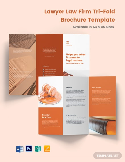 Lawyer Law Firm TriFold Brochure Template