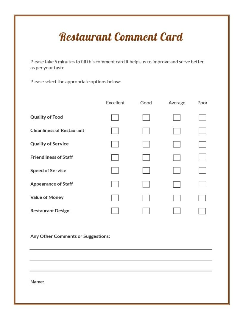 Restaurant Comment Card Template