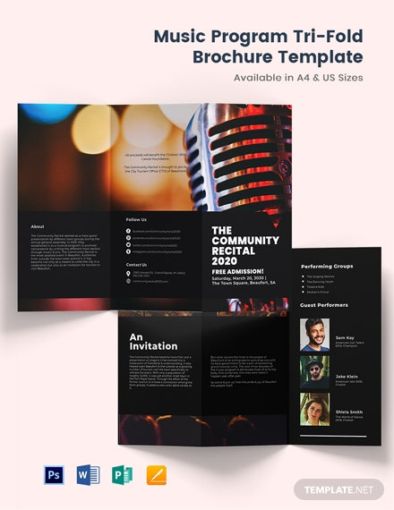 Music Program TriFold Brochure Template