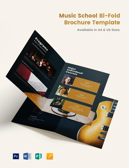 Elegant Music School Bi-Fold Brochure Template