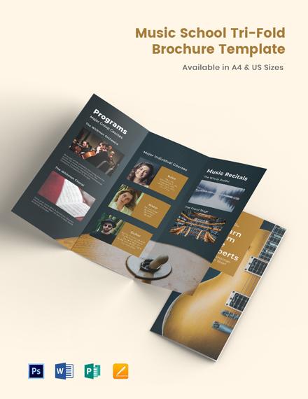 Elegant Music School TriFold Brochure Template