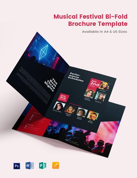 Musical Festival BiFold Brochure Template