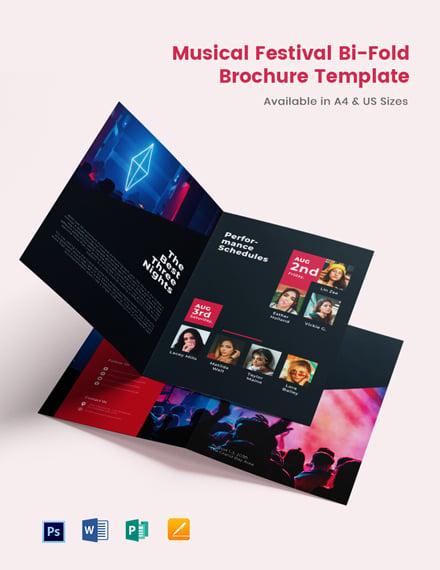 Musical Festival Bi-Fold Brochure Template