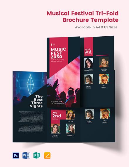 Musical Festival Tri-Fold Brochure Template