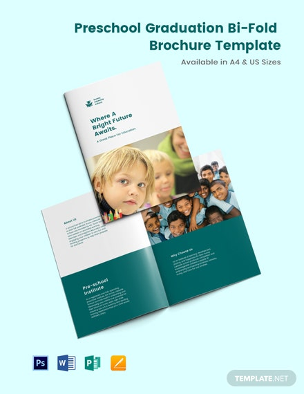 Preschool Graduation Bi-Fold Brochure Template