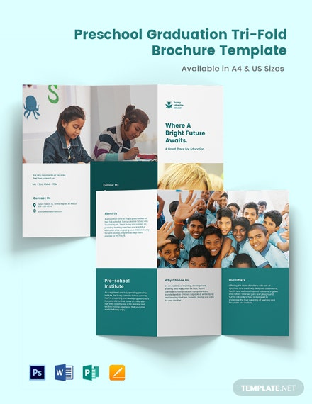 Preschool Graduation Tri-Fold Brochure Template