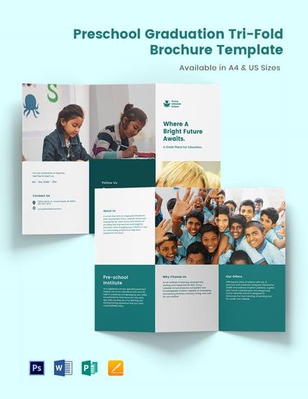 Preschool Graduation Tri-Fold Brochure Template