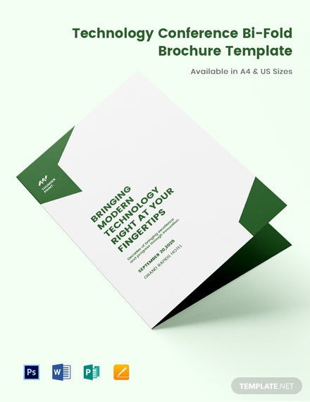 Technology Conference Bi-Fold Brochure Template