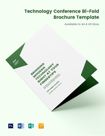 Technology Conference Bi-Fold Brochure Template