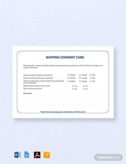 Free Shipping Comment Card Template