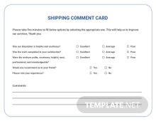 Shipping Comment Card Template