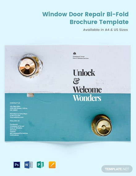 Window & Door Repair Bi-Fold Brochure Template