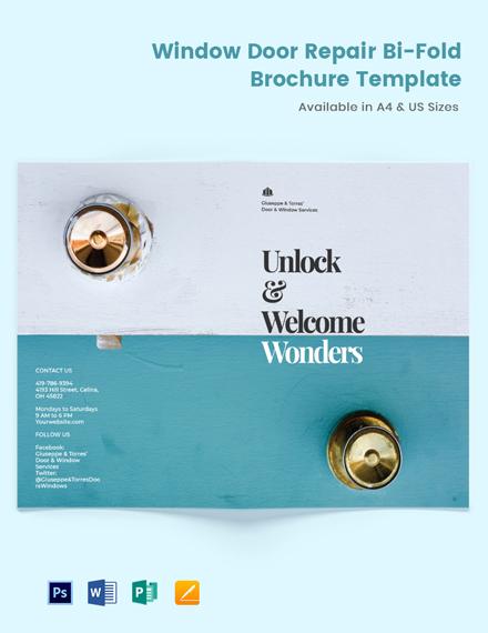 Window & Door Repair Bi-Fold Brochure Template