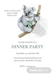 Koala Dinner Invitation Template