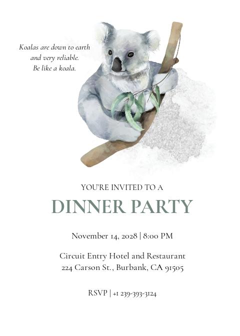 Koala Dinner Invitation Template