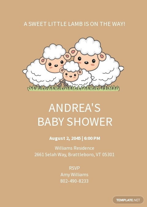 Little Lamb Baby Shower Invitation Template