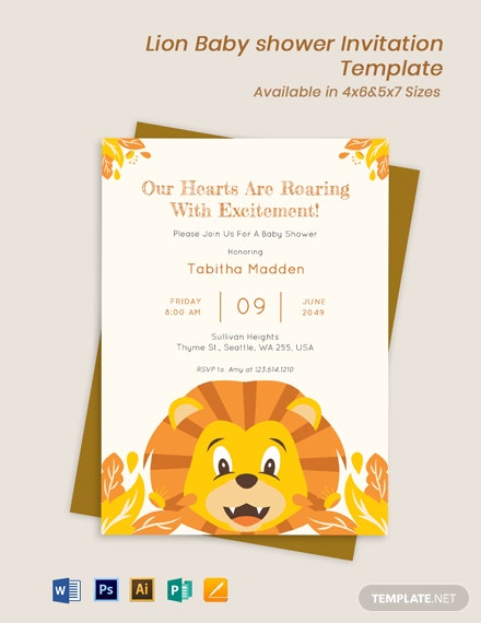Lion Theme Baby Shower Invitation Template