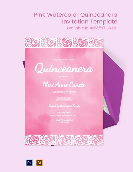 Pink Watercolor Quinceanera Invitation Template
