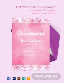 Pink Watercolor Quinceanera Invitation Template