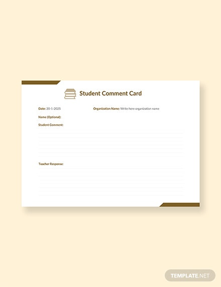 free student comment card template