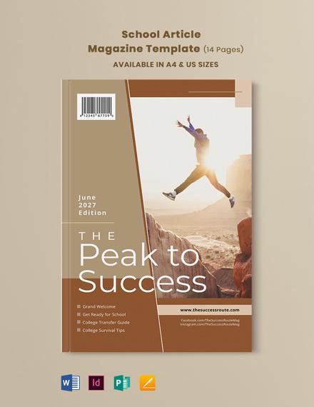 School Article Magazine Template