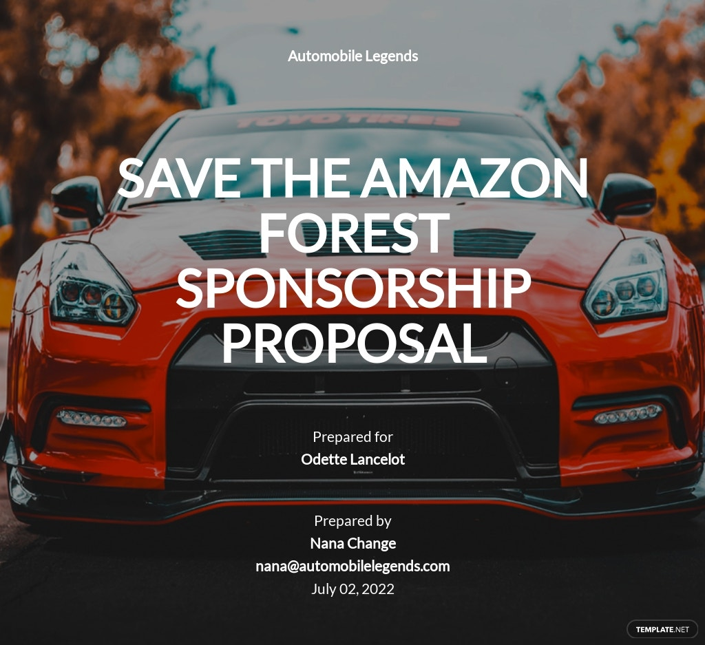 Automotive Sponsorship Proposal Template