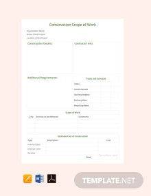 Free Construction Scope of Work Template