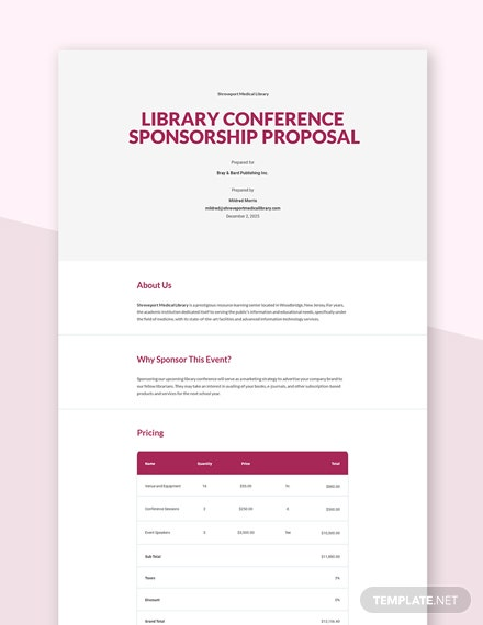 Editable Conference Sponsorship Proposal Template