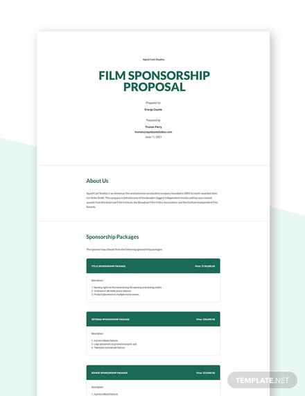 Film Sponsorship Proposal Template