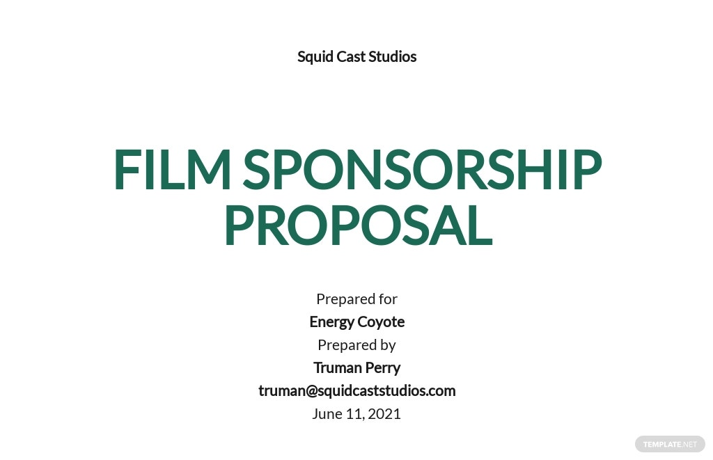 Film Sponsorship Proposal Template