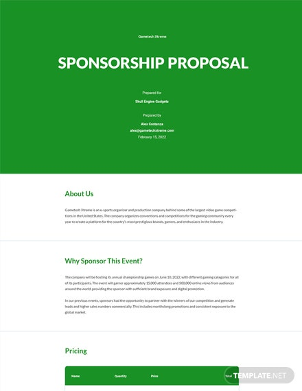Gaming Sponsorship Proposal Template