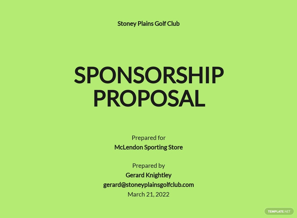 Golf Sponsorship Proposal Template