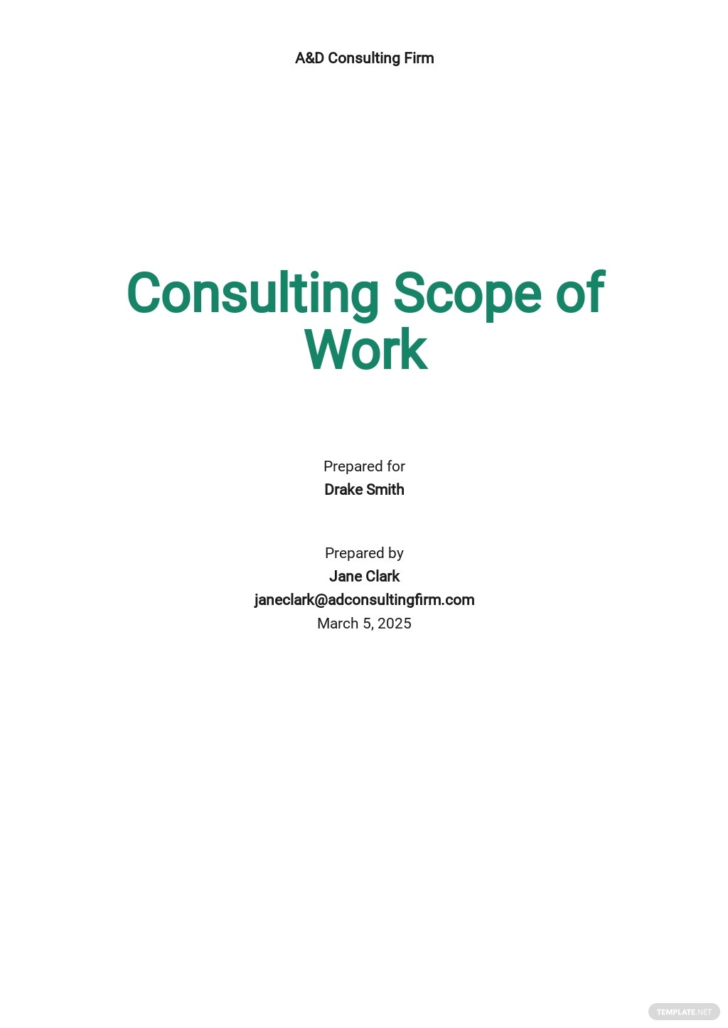 Consulting Scope of Work Template