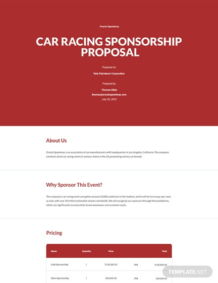 Racing Sponsorship Proposal Template