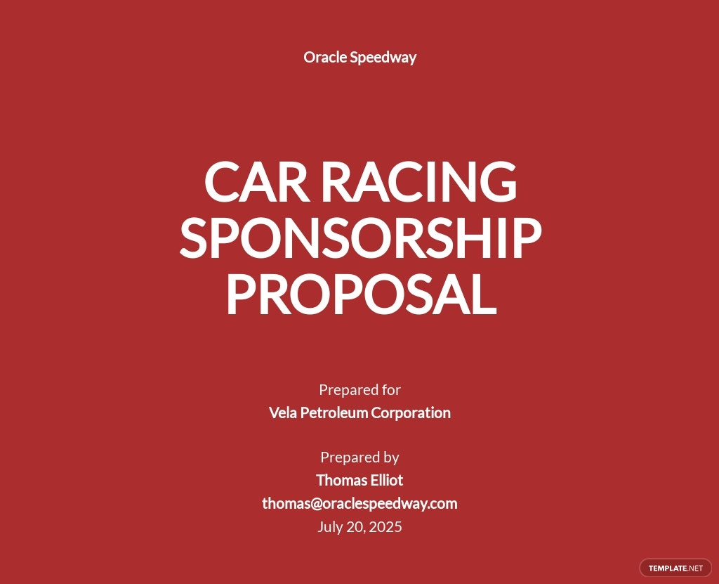 Racing Sponsorship Proposal Template