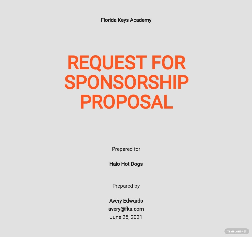 Request for Sponsorship Proposal Template