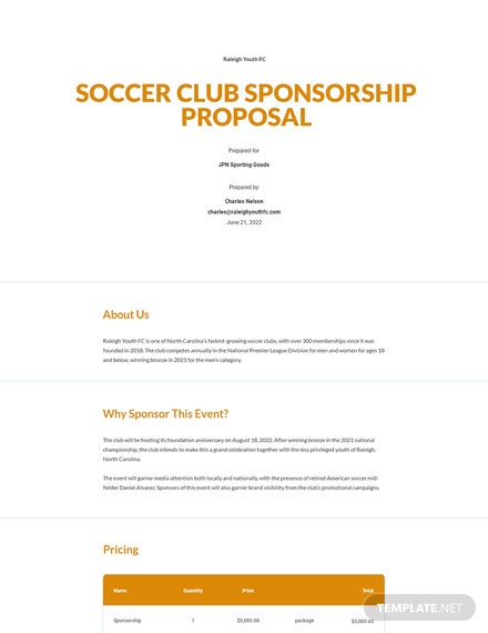 Editable Soccer Club Sponsorship Proposal Template