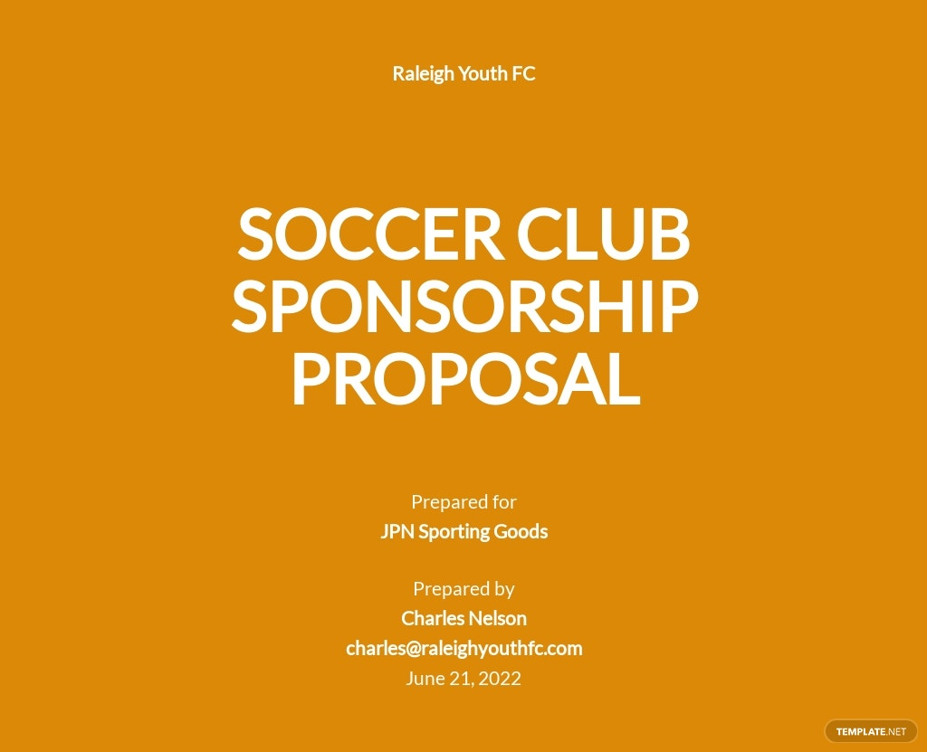 Soccer Club Sponsorship Proposal Template