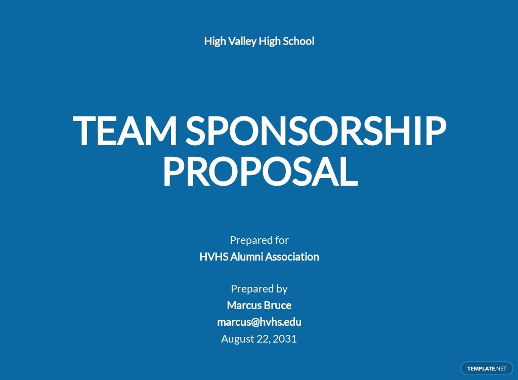 Team Sponsorship Proposal Template