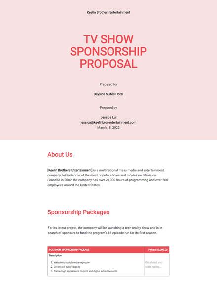 Tv Show Sponsorship Proposal Template